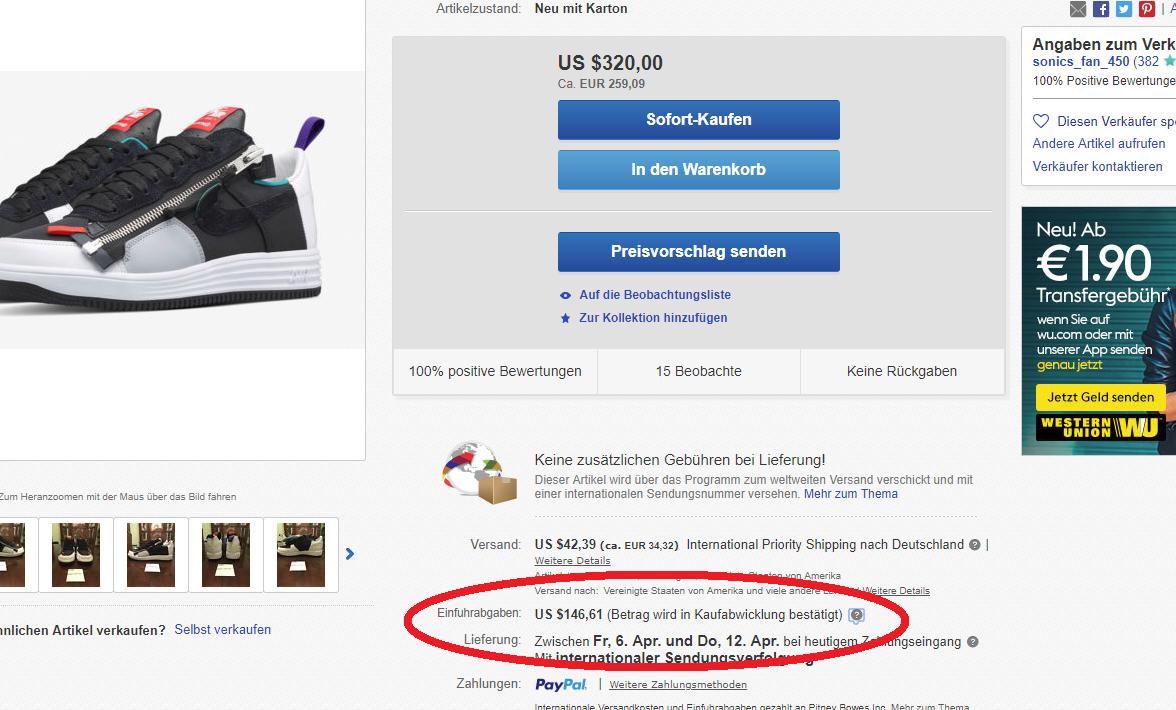 250€ warenwert dafür 100€ zoll normal? (kaufen, schuhe