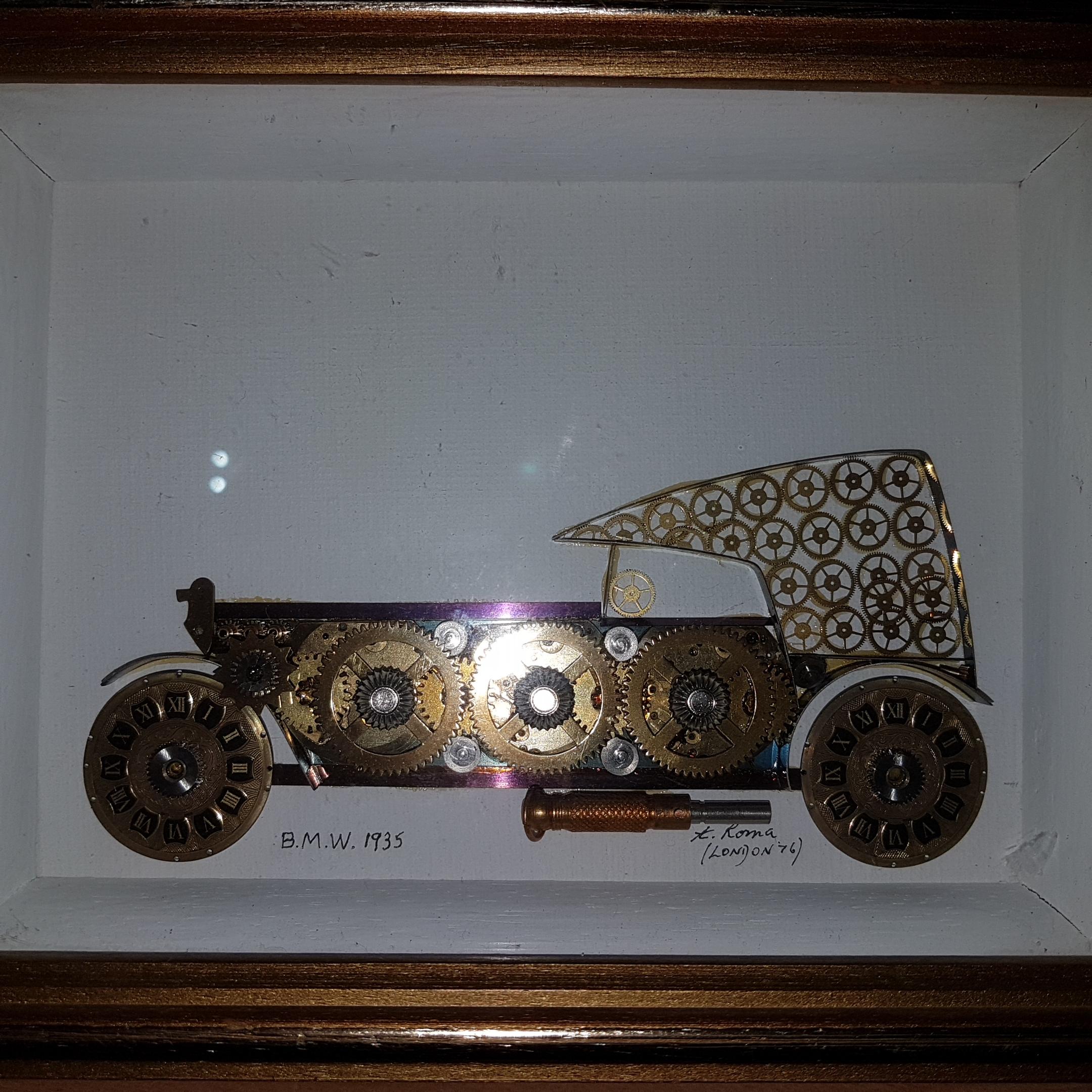 2D Bilder von Autos, in Bilderrahmen, gemacht aus Uhr Einzelteilen ...