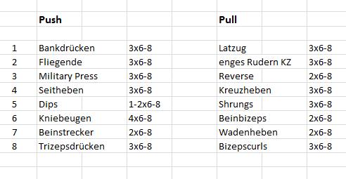2er Split Trainingsplan Push Pull (Sport, Fitness, Muskeln)