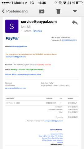 Bil beweis - (Geld, PayPal, Betrug)