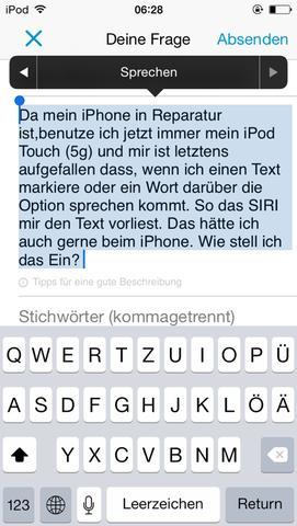 Da sieht man die Option sprechen  - (iPhone, Apple, Sprechen)