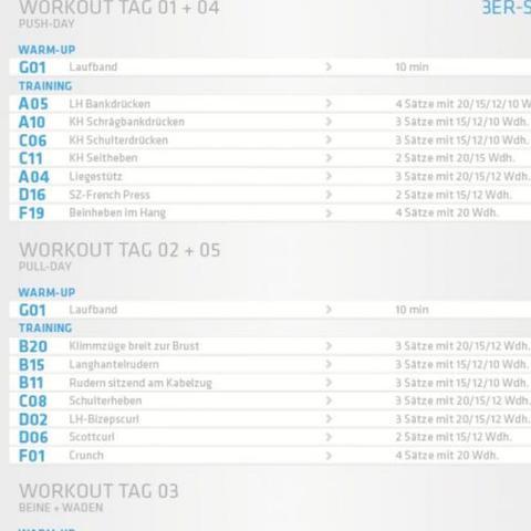 3er Split 5x Die Woche Zuviel Fitness Muskelaufbau Mcfit