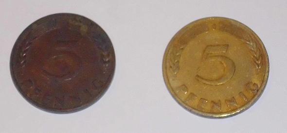 5 Pfennig Münze 1949 Kupfer Münzen Numismatik Bank Deutscher
