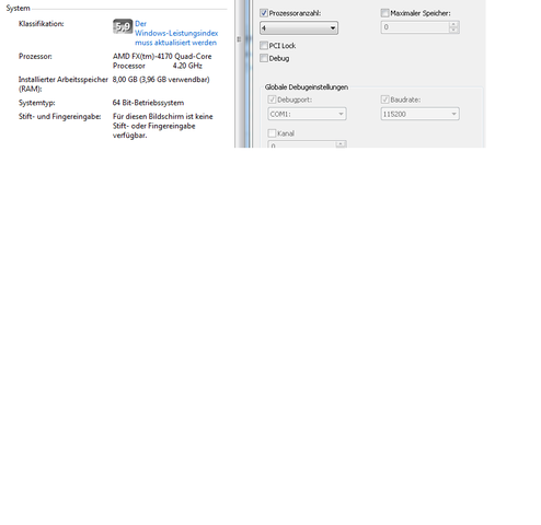 Von Msconfig und systemeigenschaften - (PC, RAM, Arbeitsspeicher)
