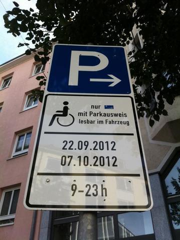 temporärer Behindertenparkplatz - (Recht, Verkehr, Behinderung)