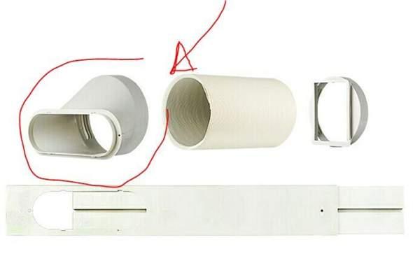 Abluftschlauch bei Klimaanlage von Rund auf Rechteck?