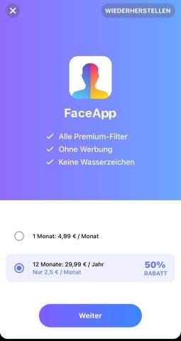 Abonnement FaceApp?