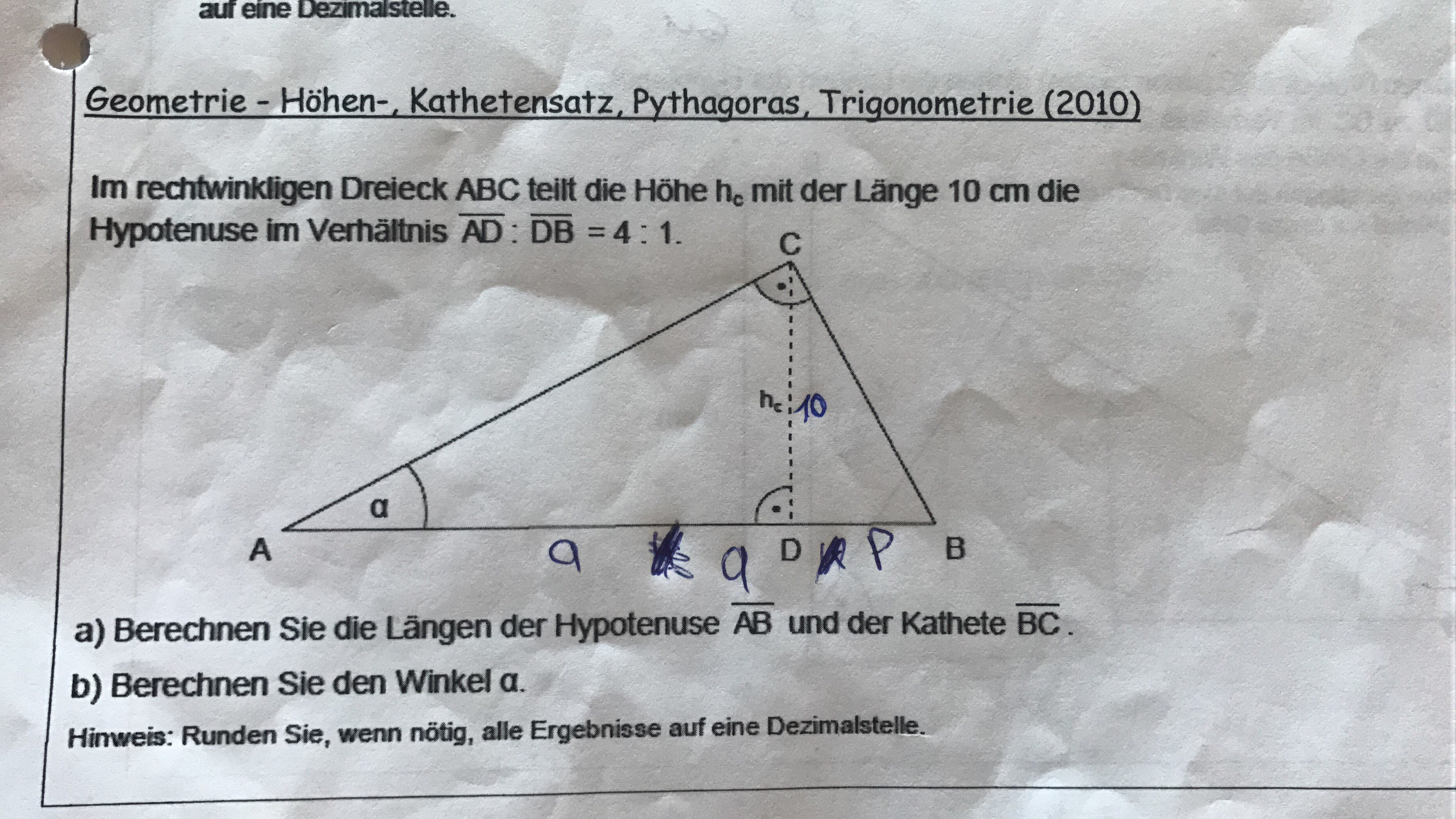 Abschlussprüfung M10, Mathe Aufgabe, Kathensatz, Höhensatz ...