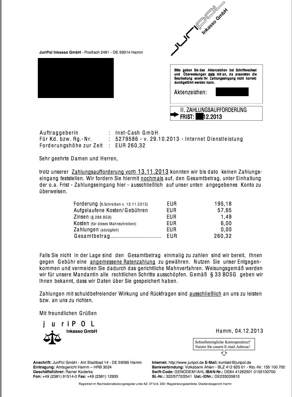 Abzocke Durch Inet Cash Und Juripol Inkasso Internet Betrug