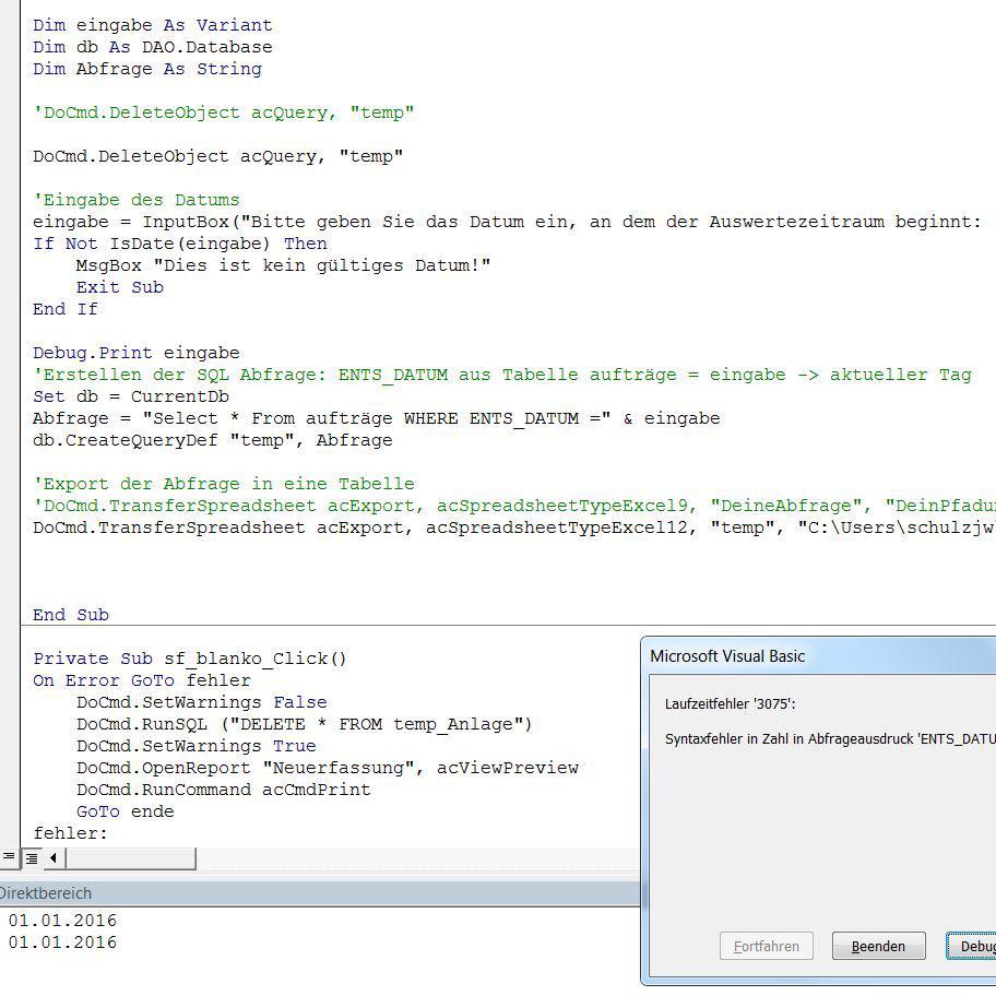 Access VBA: Datum aus Inputbox in SQL Abfrage verwenden?