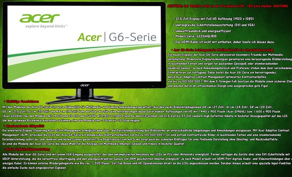 Acer G6-Serie - (TV, Monitor, HDMI)