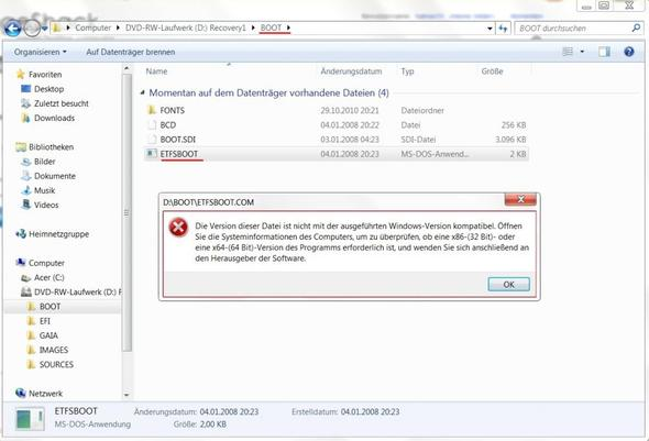 Fehlermeldung - (PC, Windows, Acer)
