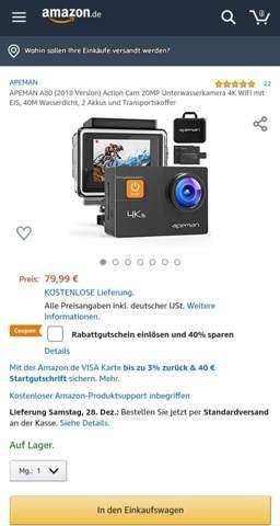 Action cam Internet eventuell nicht verfügbar?