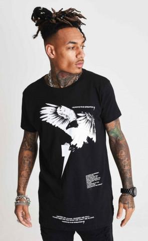 T Shirt in schwarz mit einem Tier-/& Naturmotiv Modell Eagle Wings