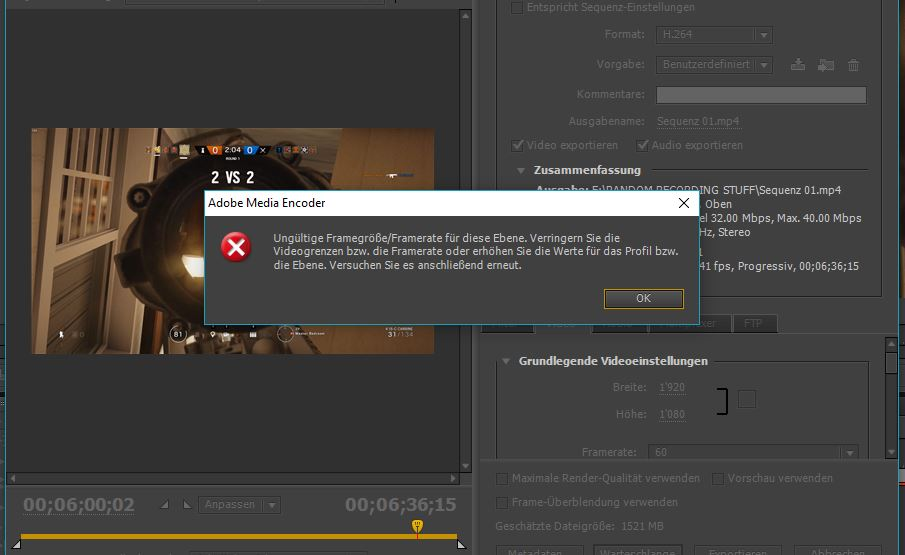 Adobe Premiere Pro CS6 Problem mit 60 FPS? (Video, Videobearbeitung ...