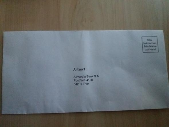 Advanzia Bank Antwort Brief Verschicken