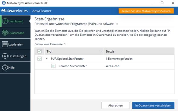"""AdwCleaner findet """"PUP.Optional.StartFenster"""" ist das ein Virus, wenn ja, wie entferne ich den? Mit AdwCleaner lässt sich das nicht entfernen?"""