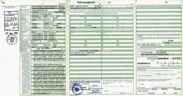 Alter KFZ-BRIEF - (Auto, Zulassung)