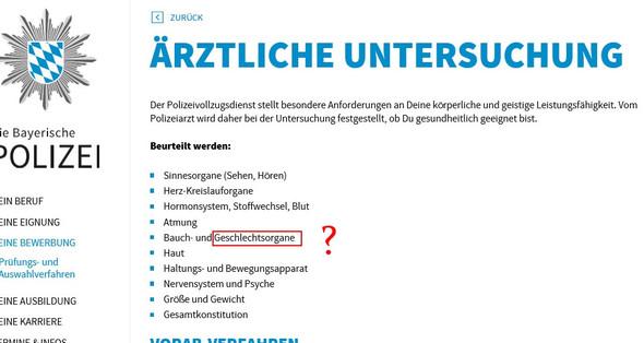 bild von der homepage der bayerischen polizei eignungstest rztliche untersuchung polizei - Bewerbung Polizei Bayern