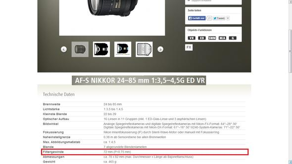 Filterdurchmesser - (Kamera, Nikon, Objektiv)
