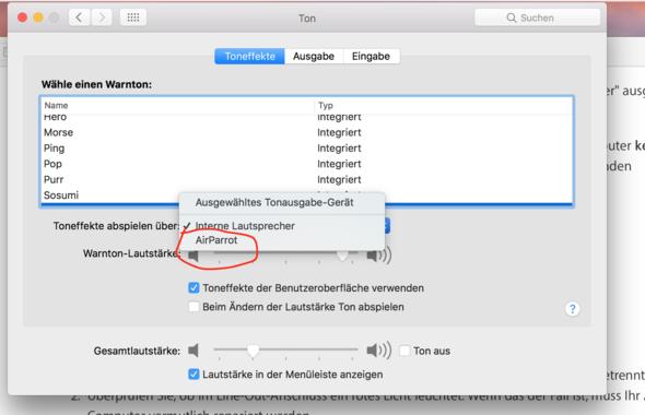 Hier seht ihr Air Parrot als Auswahlmöglichkeit  - (Apple, Sound, Macbook)