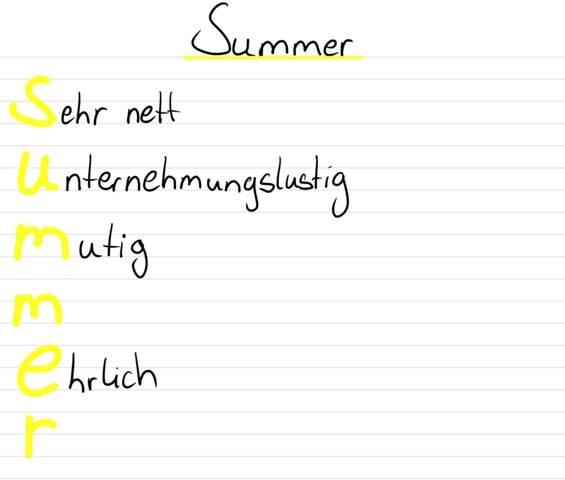 Akrostichon mit dem Namen Summer?