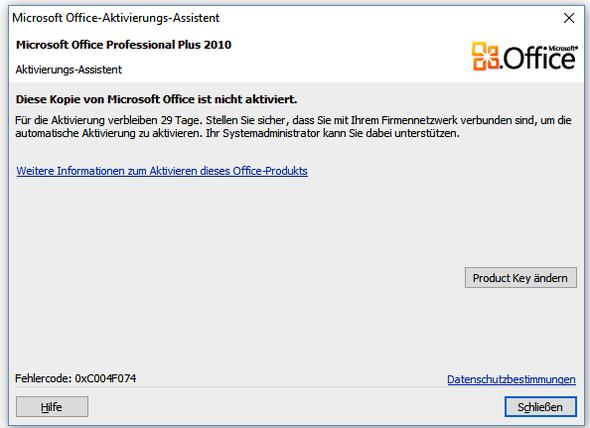 Fehlermeldung - (Microsoft, Aktivierung, MAK)