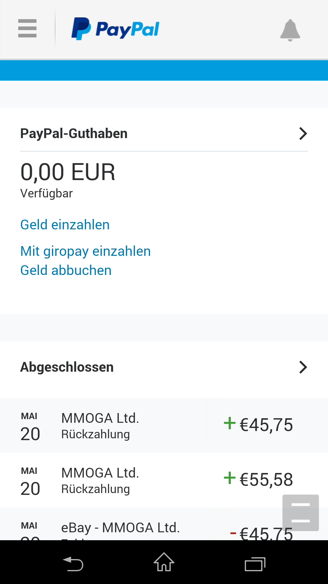 Paypal Abbuchung Offen