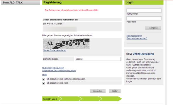 Fehlermeldung - (Handy, ALDI, Prepaid)