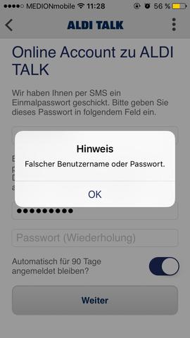 """Das erscheint nach der """"erfolgreich"""" Passwortänderung - (SMS, Passwort, Aldi-Talk)"""