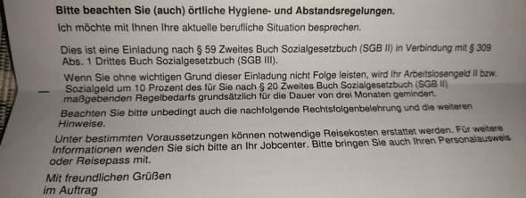 ALG 2 - Job Center - 3 Monatige Maßnahme, nicht Teilnehmen, 10% Sanktion, wie genau (Bild beachten)?