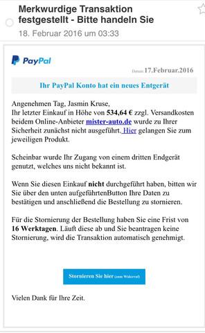 Hier die E-Mail (von service@paypal.com) - (Computer, Handy, PayPal)