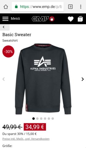 Alpha industries Sweater original?