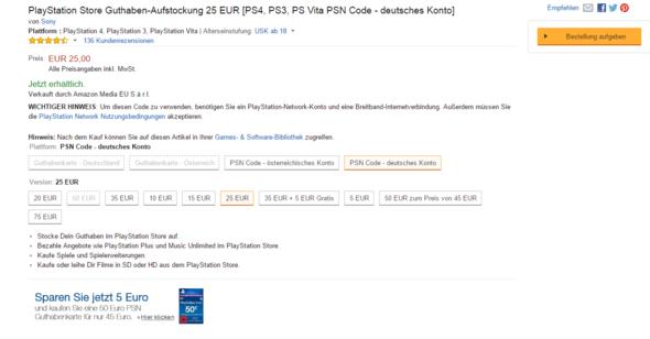 """Dort sieht man """"bestellung aufgeben"""" - (Amazon, PSn, Amazon karte)"""