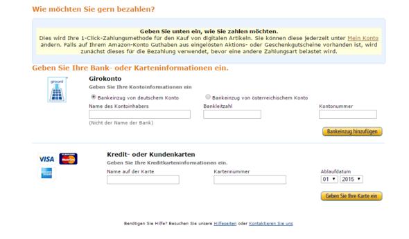 Hier sieht man dass ich die Bankdaten angeben müsste - (Amazon, PSn, Amazon karte)