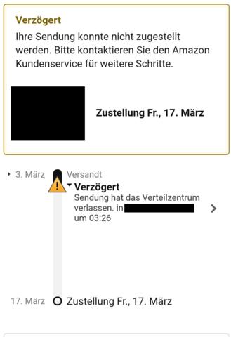 Screenshot der Lieferung auf der Amazon App - (Amazon, Versand, Bestellen)