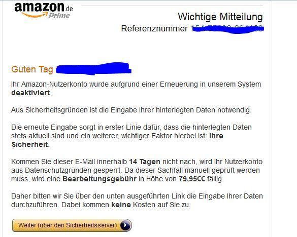 Email Amazon Konto Unsicher