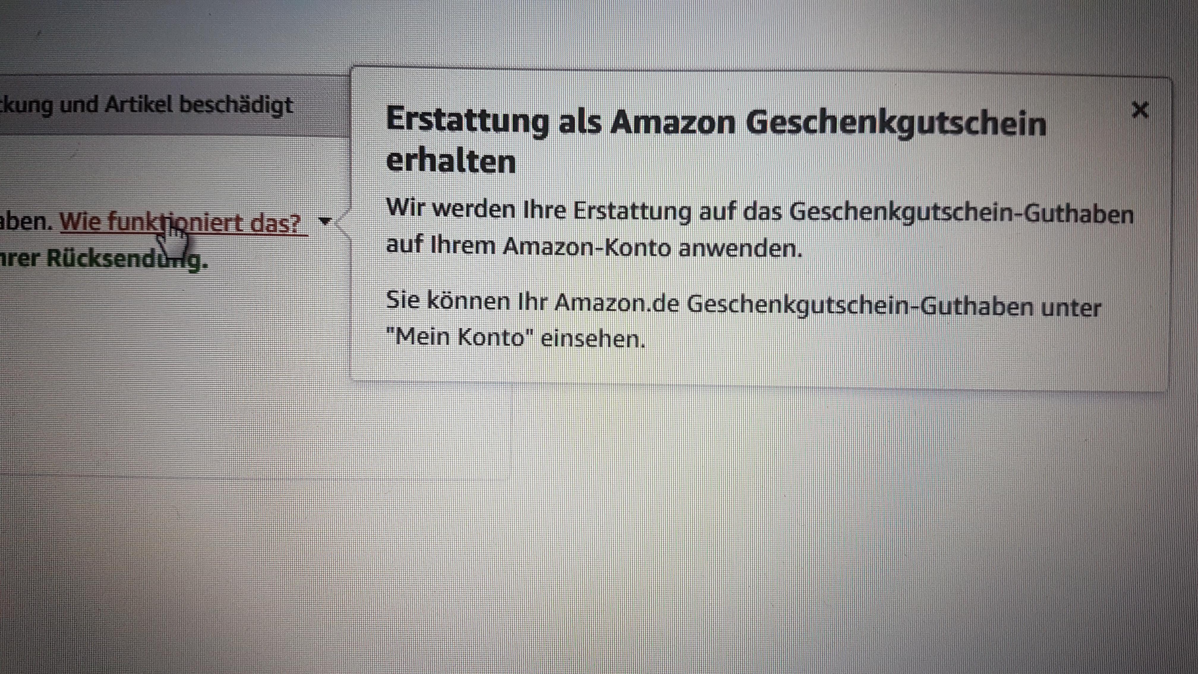 Erstattung Amazon