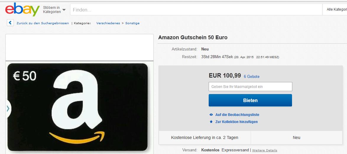 amazon gutscheine auf ebay f r doppelen preis ihres wertes wert gutschein. Black Bedroom Furniture Sets. Home Design Ideas