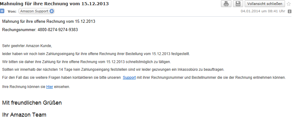 amazon mahnung doch keine bestellung rechnung. Black Bedroom Furniture Sets. Home Design Ideas