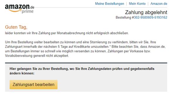 Amazon Zahlung Abgelehnt