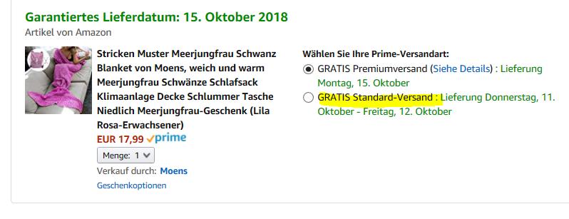 Amazon Prime Versand