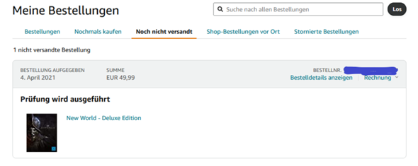 """Amazon """"Prüfung wird ausgeführt.""""?"""