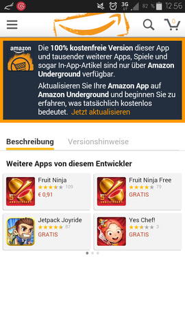 Ein Screenshot von dieser Meldung - (App, Amazon Underground)