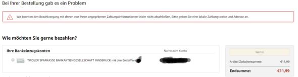Amazon will meine Zahlungsinformationen nicht annehmen?