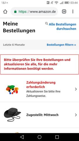 Zahlungsänderung Erforderlich Amazon