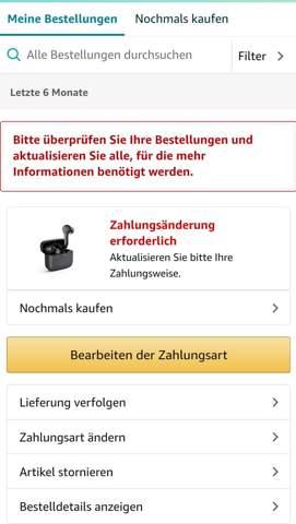 Amazon Zahlungsänderung erforderlich?
