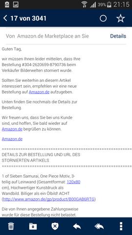 stornier bestätigung  - (Computer, Internet, Amazon)