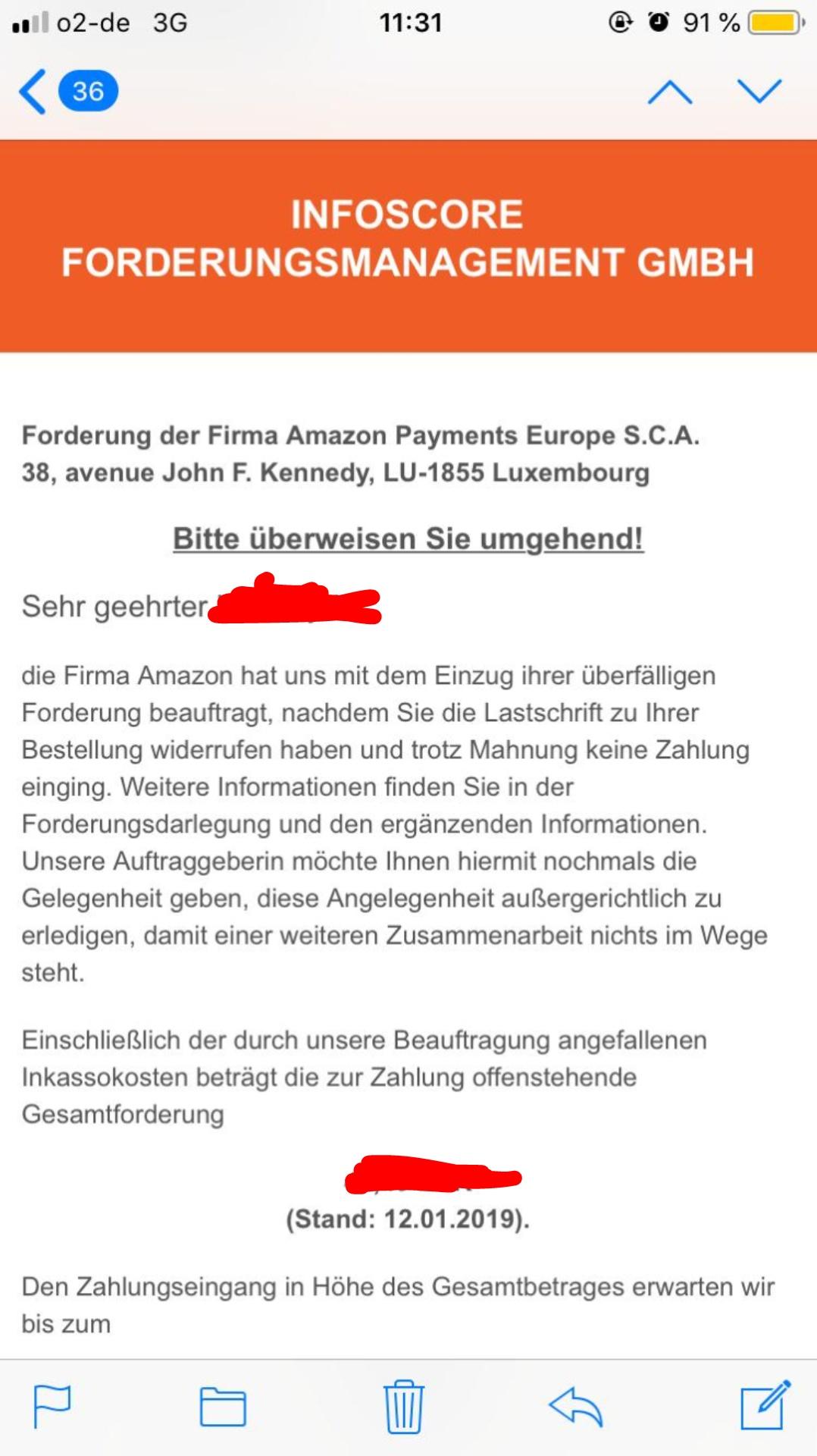 Amazone Schufa Eintrag Eure Meinung Zu Inkasso Email Schufaeintrag