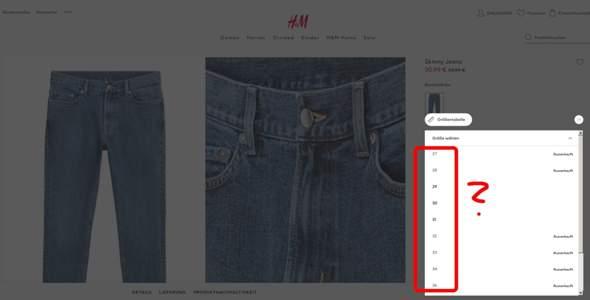 Amerikanische Jeansgröße aber nur eine Ziffer angegeben, was